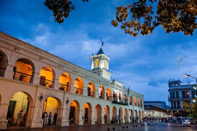 Salta, Argentina - January 5, 2012: The Cabildo city council building in plaza 9 Julio