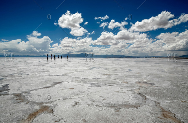 People at Salinas Grandes in Jujuy Province, Argentina