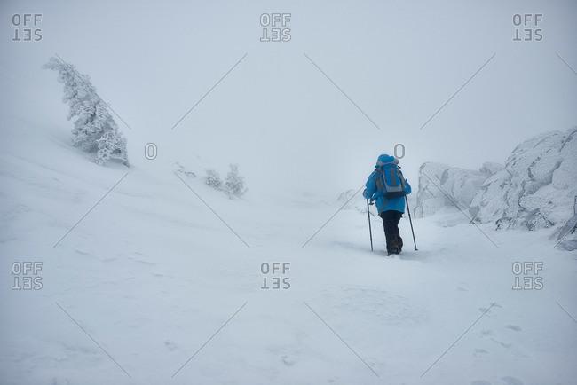 Silhouette of human among snow