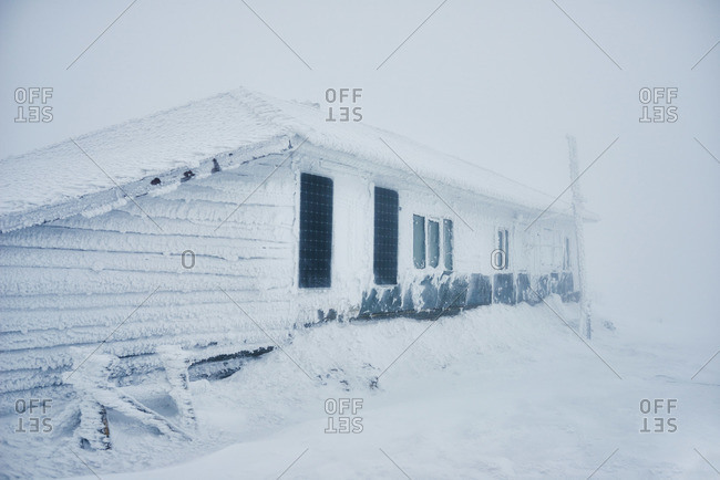 Building covered in snow