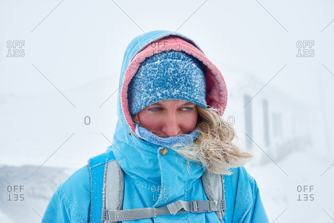 Portrait of a woman hiking in winter