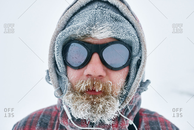 Portrait of a man traveling in winter