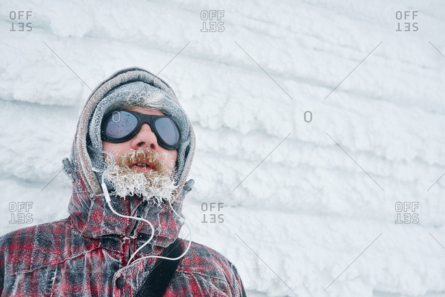 Portrait of a man with a frozen beard
