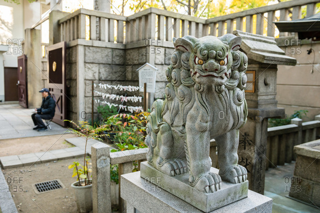 Religious lion statue in Japan
