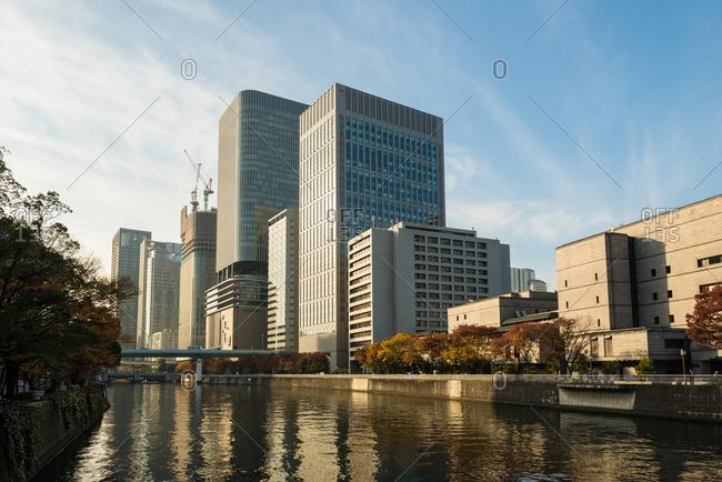 Modern buildings on river, Osaka