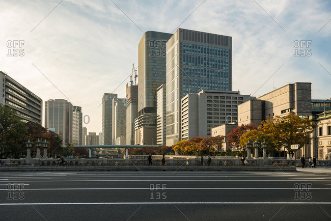 Osaka-shi, Osaka-fu, Japan - December 2, 2015: City view in Osaka, Japan