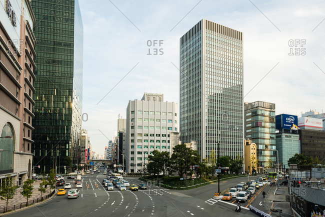 December 2, 2015: Street and modern buildings, Osaka, Japan