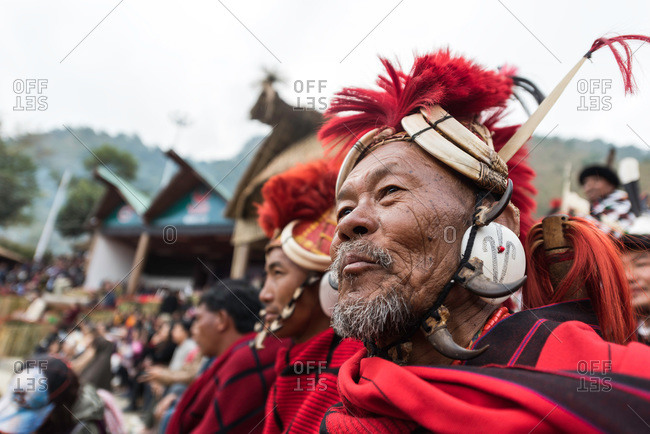 Nagaland, India - December 10, 2015: Smiling Indian man attending festival