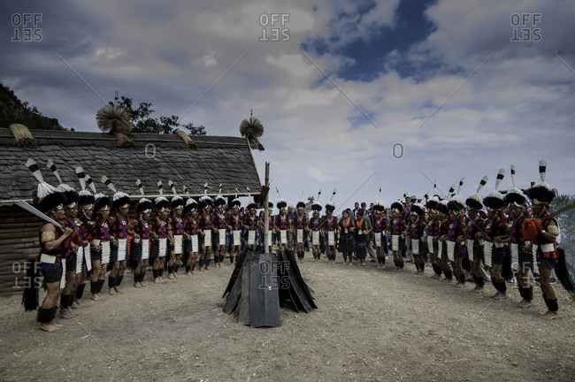 Nagaland, India - December 1, 2015: Festival crowd in India forming circle