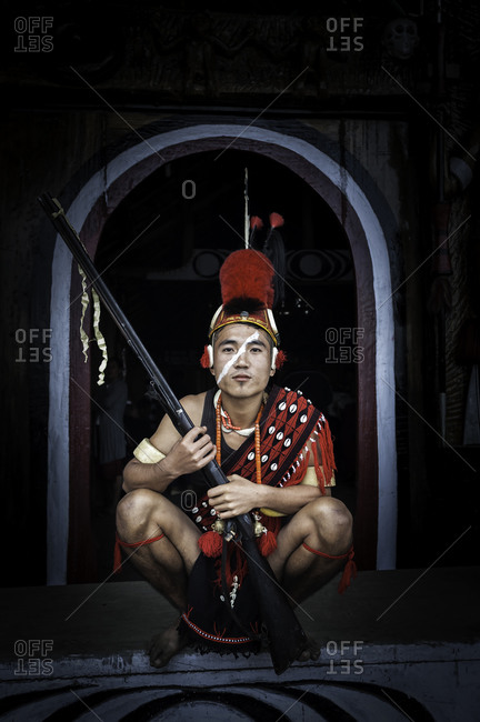 Nagaland, India - December 1, 2015: Indian man in tribal festival outfit