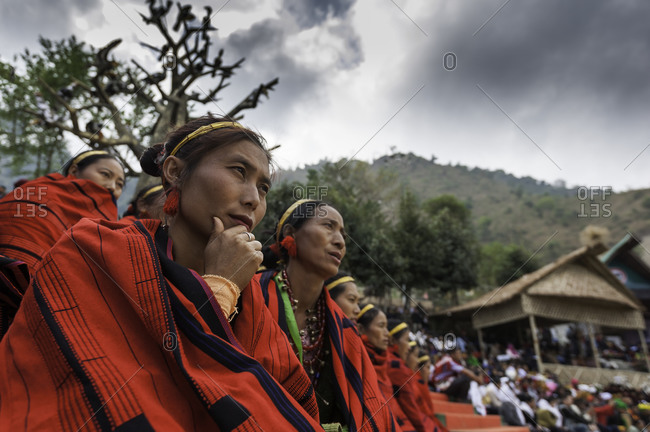 Nagaland, India - December 9, 2015: Indian tribal village watching festival