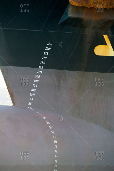 Close up of numbers on container ship