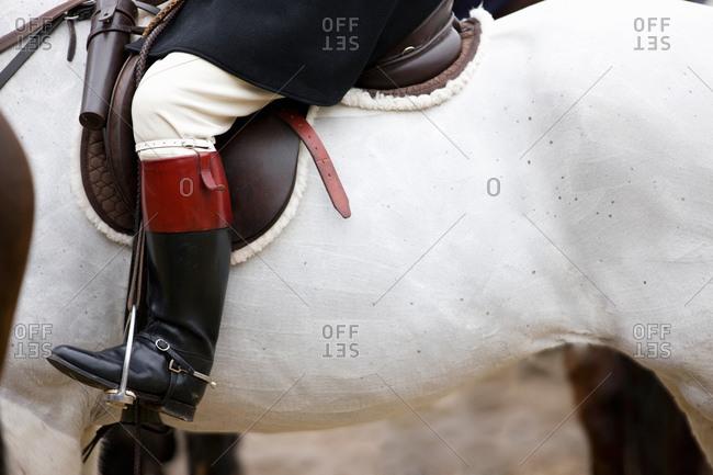 Boot of hunter on horseback