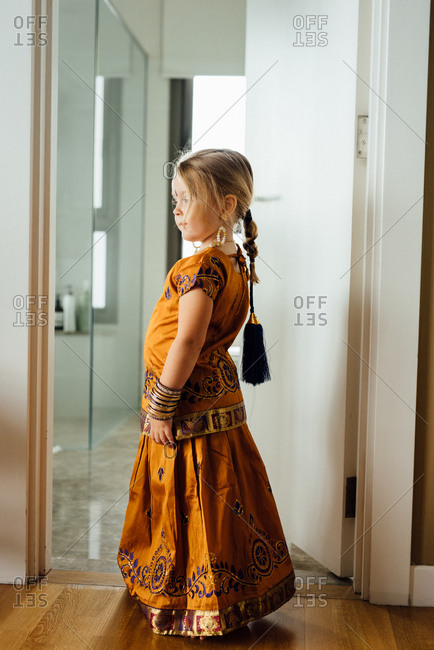 Girl wearing traditional Southeast Asian clothing
