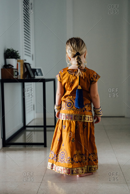 Girl in traditional Southeast Asian clothing