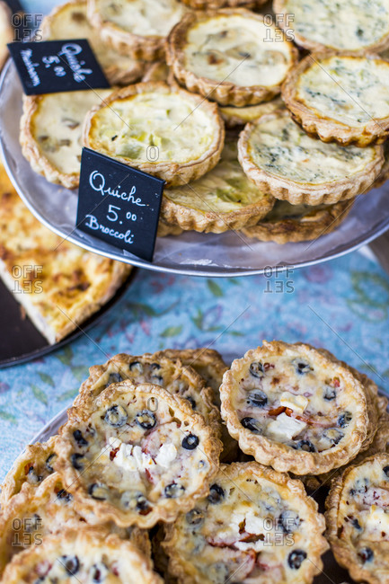Mini quiches on serving platters for sale