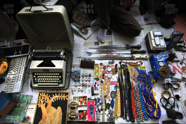 Tehran, Iran - May 9, 2011: Jewelry, coins and other items for sale in street market in Iran