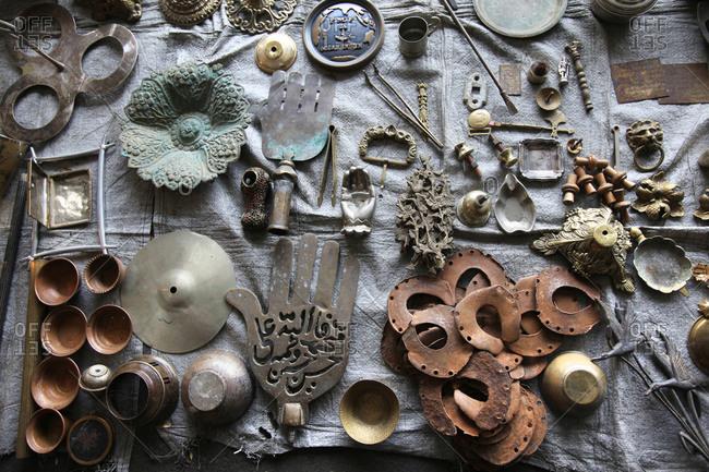 Brass objects for sale in Iranian street market
