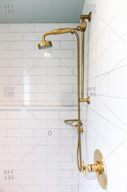 Interior view of antique style shower head in bathroom