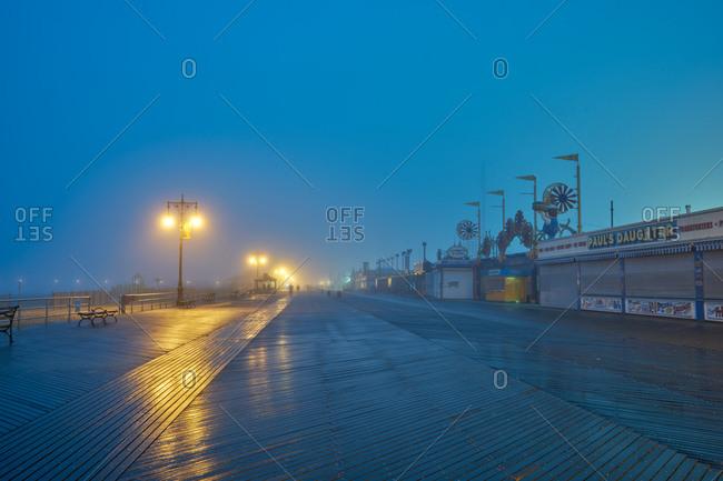 Boardwalk at twilight in Coney Island during winter
