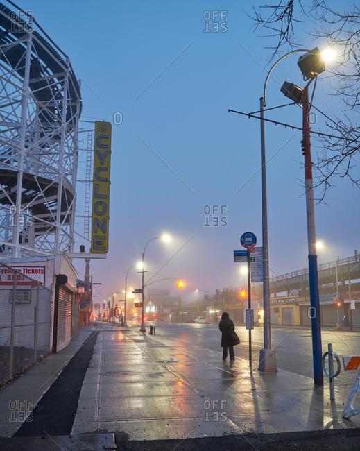 Coney Island at twilight in winter