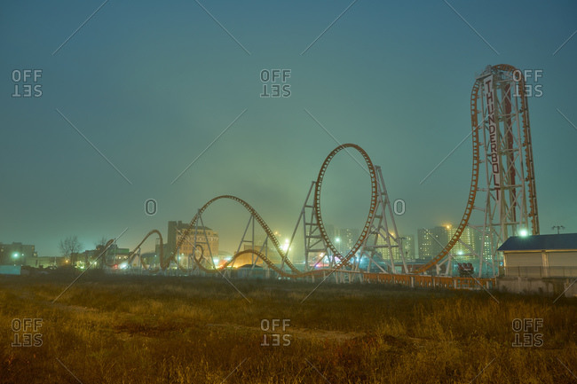Rollercoaster at night in Coney Island during winter