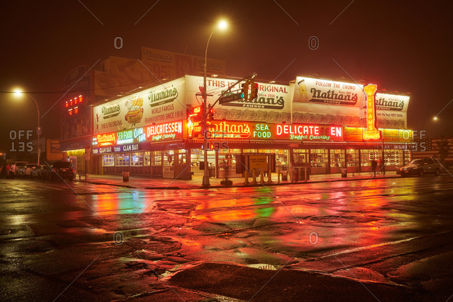 Brooklyn, NY - December 25, 2015: Original Nathan's hot dog stand in Coney Island