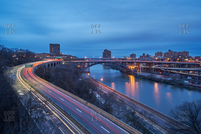 View of a highways and bridges in New York City at twilight
