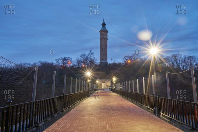 High Bridge Tower and bridge in New York City at night