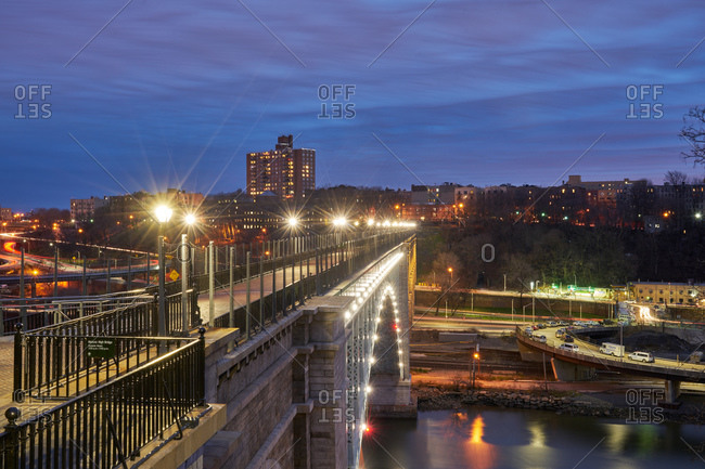 High Bridge for pedestrians at night in New York City