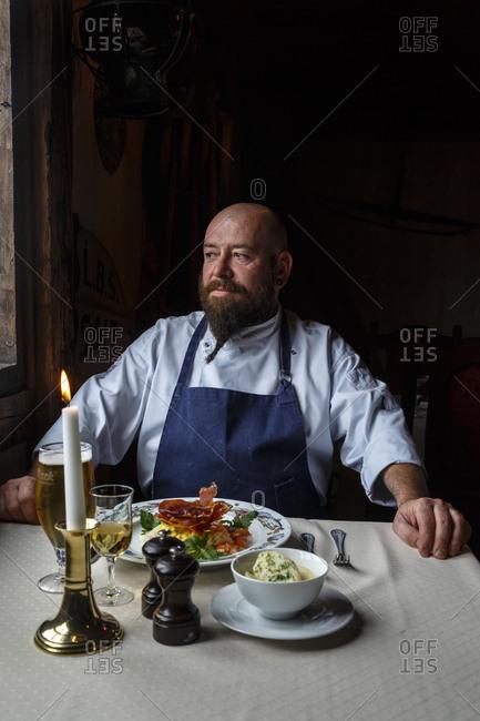 Svolvaer, Lofoten Islands, Norway - July 15, 2013: Jerome Douay, the chef at B�rsen Spiseri Restaurant