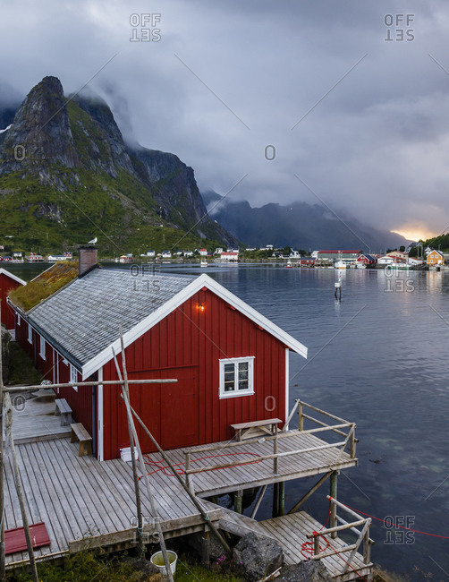 Traditional fishing cabin converted into hotel at the Reine Rorbuer hotel