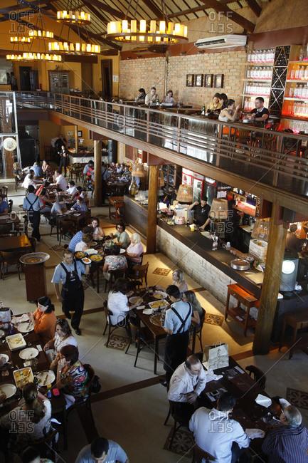 Fortaleza, Brazil - December 29, 2012: Coco Bambu Frutos do Mar restaurant