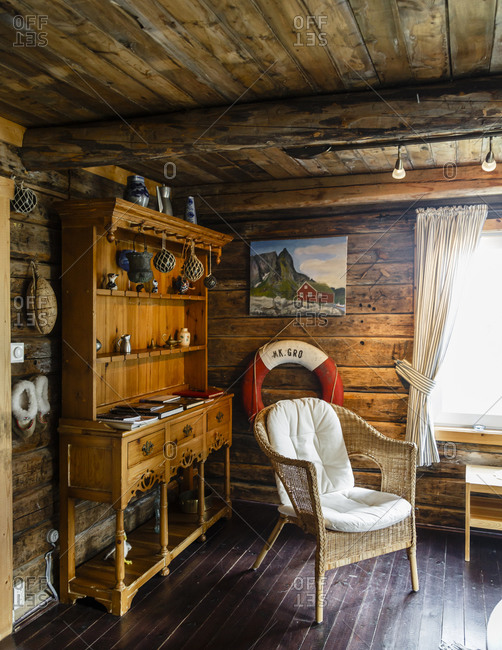 Reine, Lofoten islands, Norway - July 18, 2013: Interior of a traditional fishing cabin converted into hotel at the Reine Rorbuer hotel