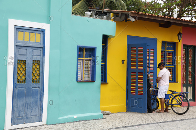 Fortaleza, Brazil - January 1, 2013: Colorful houses in Iracema