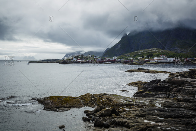 View over the fishing Village of Moskenes, Lofoten islands, Norway