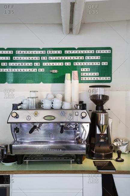 Copenhagen, Denmark - September 28, 2012: Espresso machine at the Coffee Collective on Jaegersborggade Street