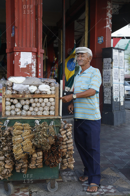 Fortaleza, Brazil - December 29, 2012: Man selling herbs in the downtown of Fortaleza, Brazil