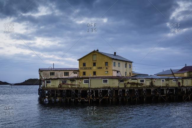Old fish factory in Henningsvaer village, Lofoten Islands, Norway