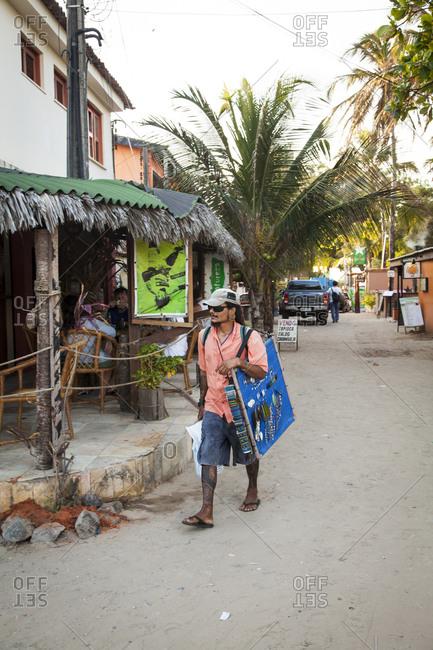 Cumbuco, Brazil - January 2, 2013: Street scene from the village centre, Cumbuco, Fortaleza district, Brazil