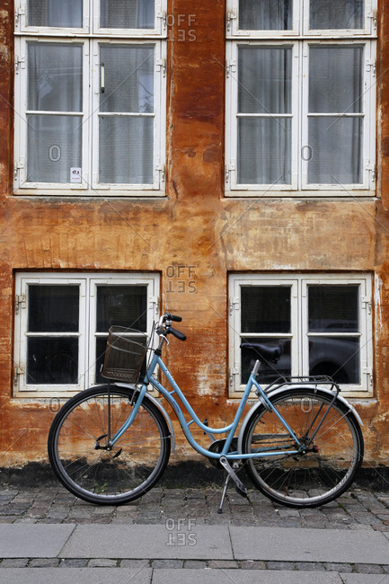 Blue bicycle on the street in Copenhagen, Denmark
