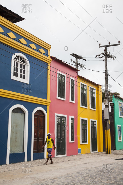 Fortaleza, Brazil - January 1, 2013: Colorful homes in Iracema