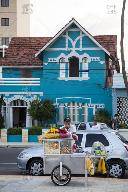 Fortaleza, Brazil - December 31, 2012: Beachfront house and street food stall on Praia do Iracema