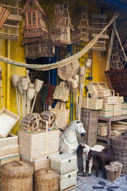 Traditional wickerwork at a shop outside Mercado Central, Fortaleza, Brazil
