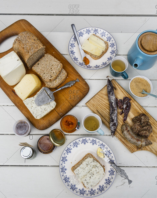 Goat cheese and sausages produced at the Lofoten Gardsysteri in Saupstad, Lofoten Islands Norway