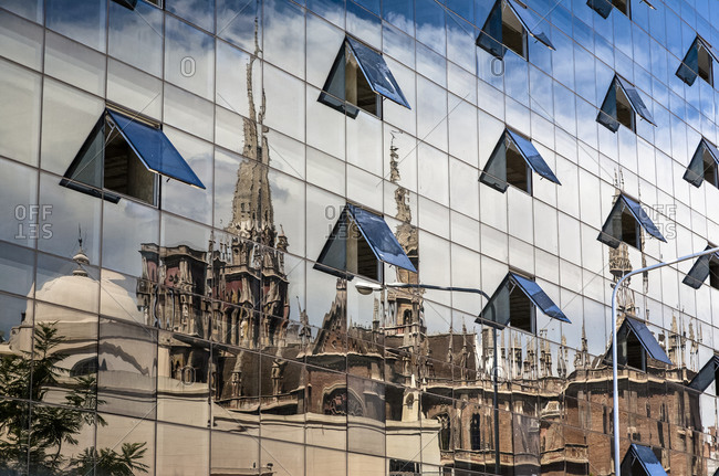 Reflection of the neo gothic Parroquia Sagrado Corazon de Jesus de los Capuchinos church, Cordoba City Argentina