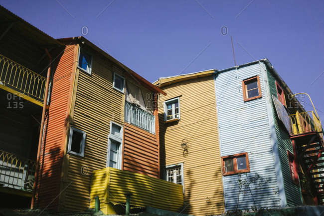 Exterior of colorful apartment houses