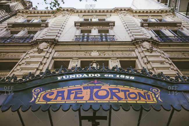 Buenos Aires, Argentina - April 13, 2015: Entrance to a cafe in Buenos Aires