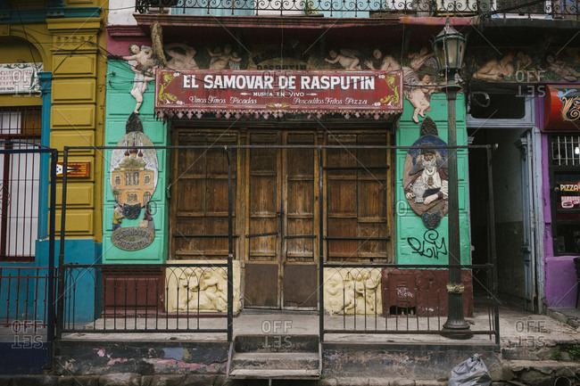 Buenos Aires, Argentina - April 14, 2015: Front of a colorful restaurant in Buenos Aires