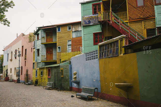 Colorfully painted residential buildings in Buenos Aires